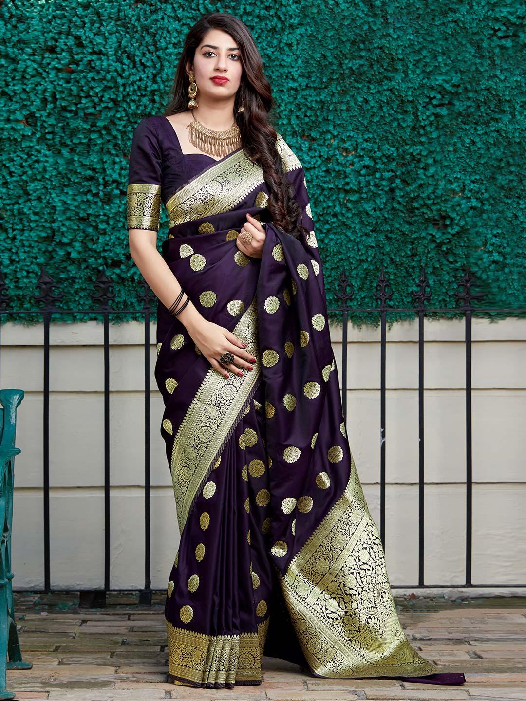 Latest purple banarasi silk saree for party wear?imgeng=w_400