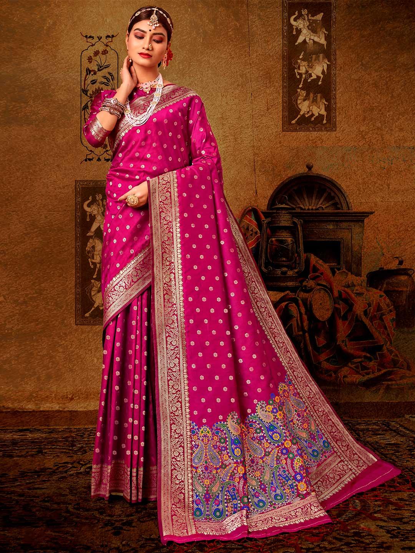 Latest purple banarasi silk saree for wedding?imgeng=w_400