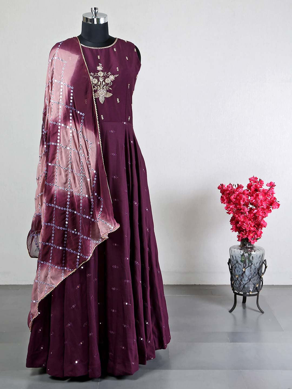 Latest purple cotton silk anarkali suit for wedding?imgeng=w_400