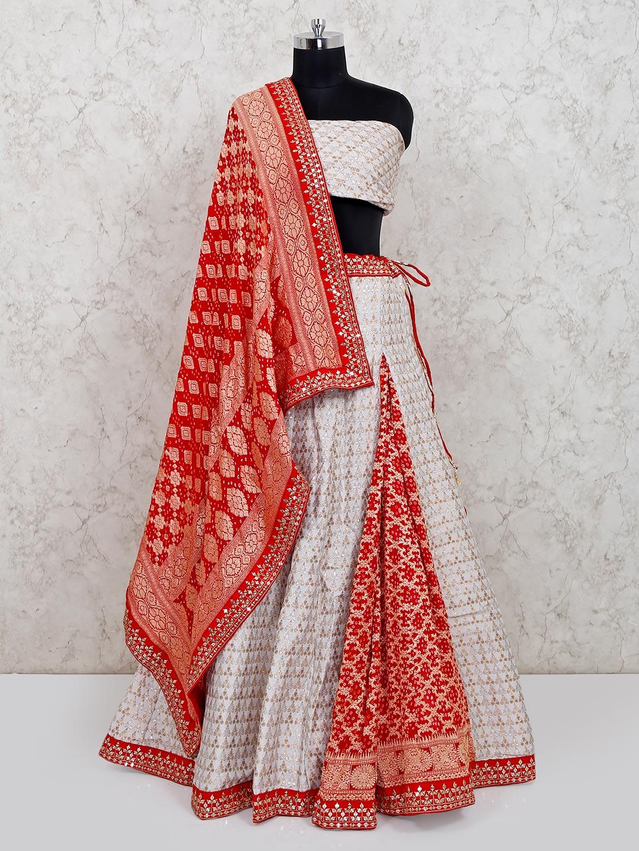 Latest white banarasi silk wedding lehenga choli ?imgeng=w_400