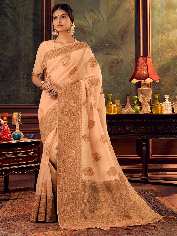 Latest zari weaved peach silk saree?imgeng=w_400