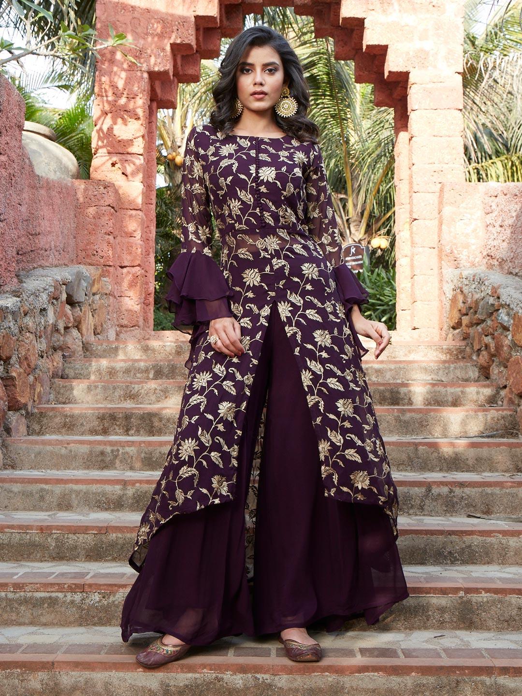 Lavish purple georgette punjabi style wedding wear sharara suit?imgeng=w_400