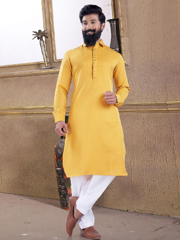 Lemon yellow solid pathani suit?imgeng=w_400