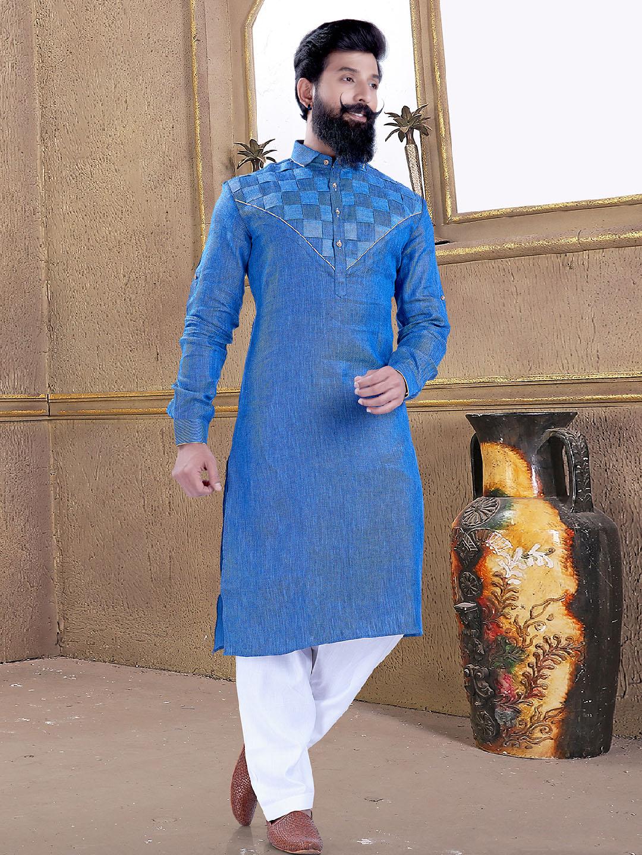 Light blue color cotton silk pathani suit?imgeng=w_400