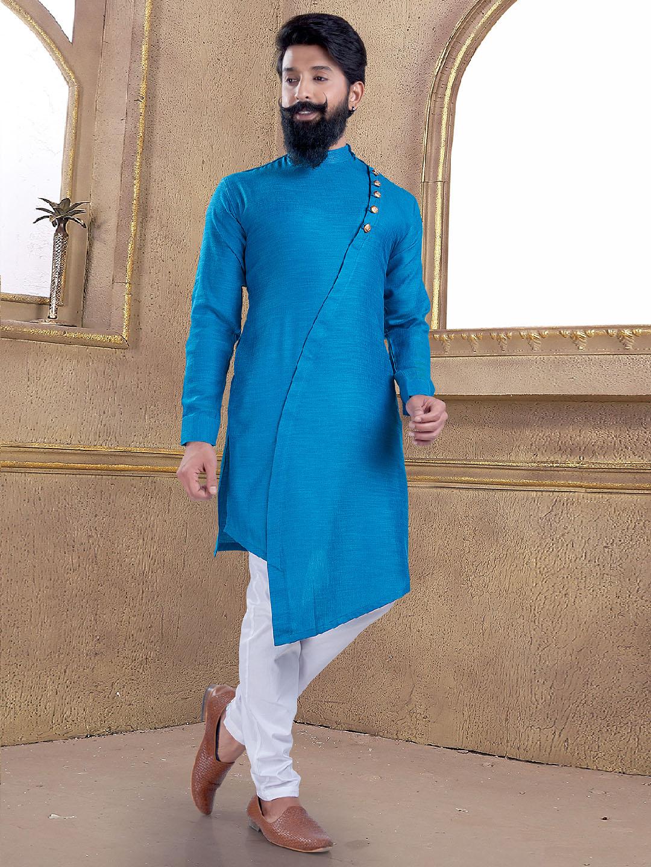 Light blue cotton silk kurta suit?imgeng=w_400