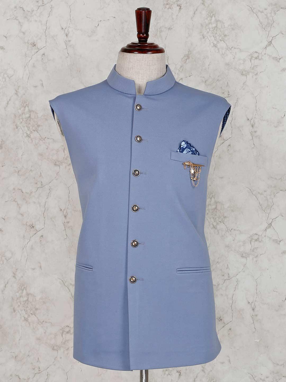 Light blue stand collar waistcoat?imgeng=w_400