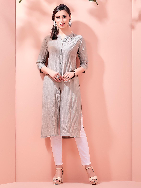 Light brown cotton casual kurti with corduroy ?imgeng=w_400