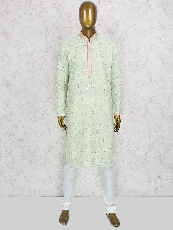 Light green printed cotton silk kurta suit?imgeng=w_400