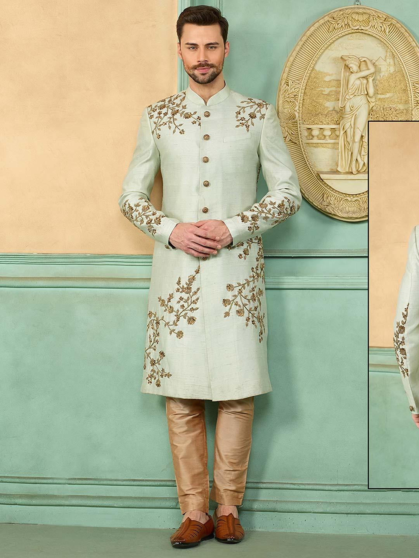 Light green raw silk fabric designer sherwani?imgeng=w_400