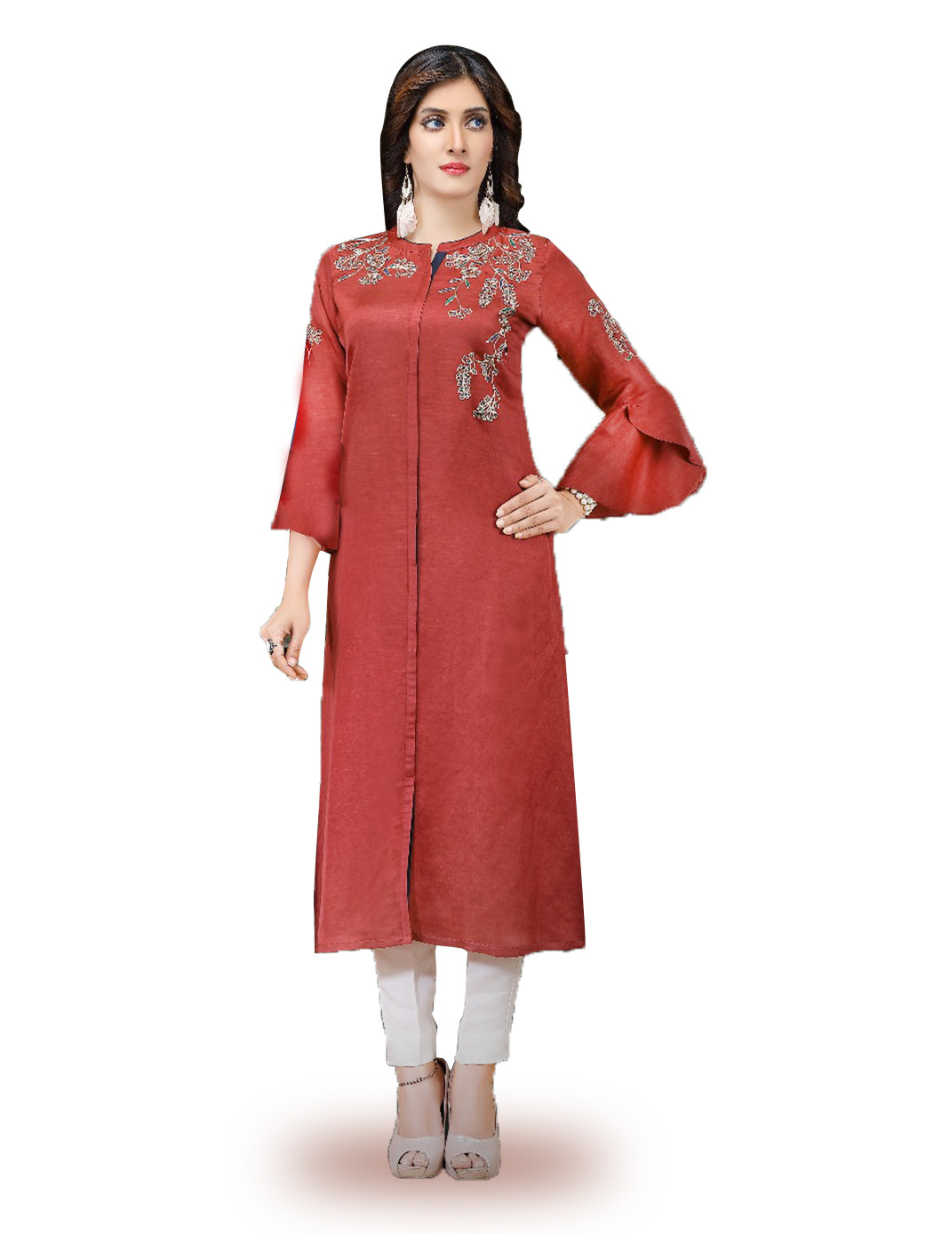 Lovely red color cotton silk kurti?imgeng=w_400