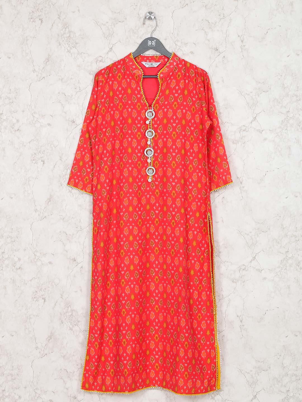 Lovely red hue cotton festive kurti?imgeng=w_400