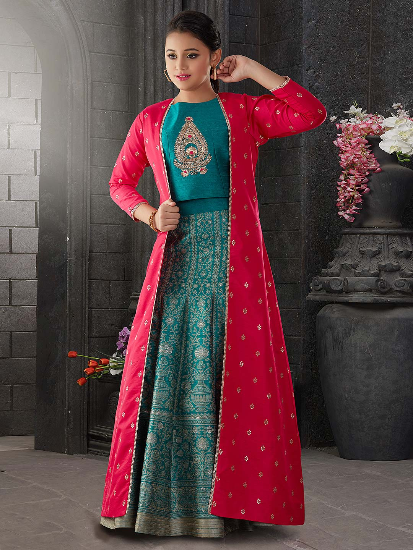 Magenta and green hue jacket style lehenga choli in raw silk?imgeng=w_400