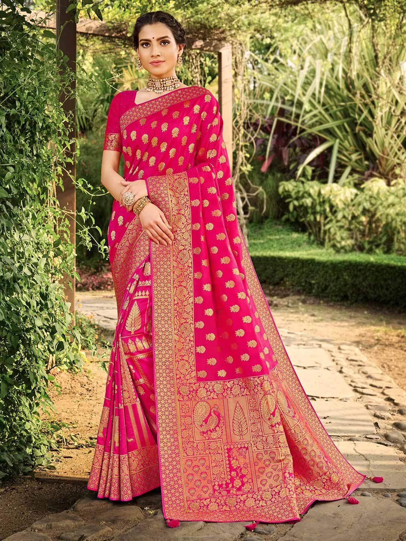 Magenta banarasi silk wedding saree for women?imgeng=w_400