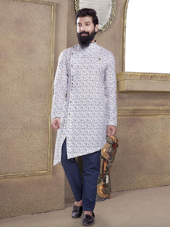 Mans printed off white kurta suit?imgeng=w_400