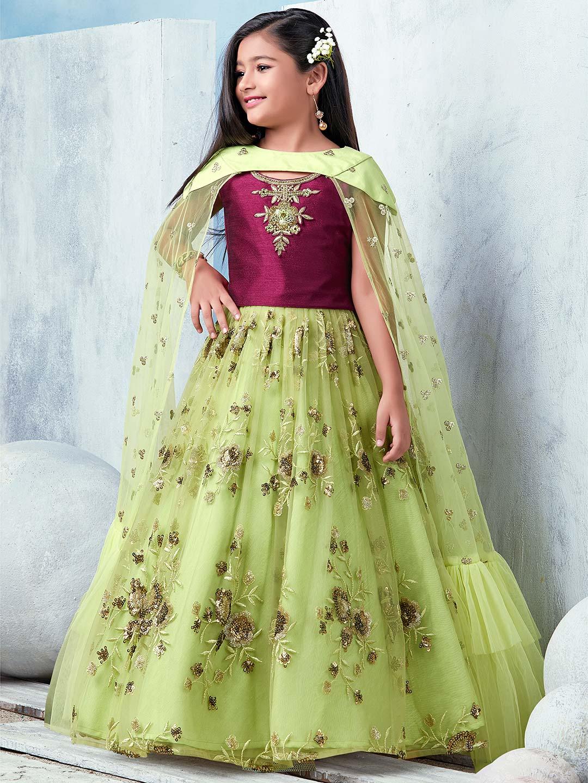 Maroon and green designer lehenga choli in net?imgeng=w_400
