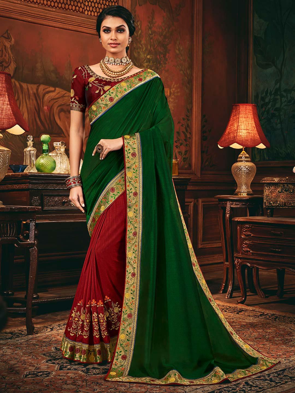 Maroon and green half and half cotton silk saree?imgeng=w_400