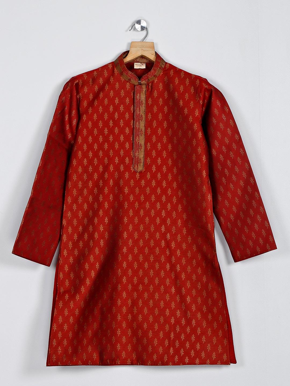 Maroon boys kurta suit in cotton silk?imgeng=w_400