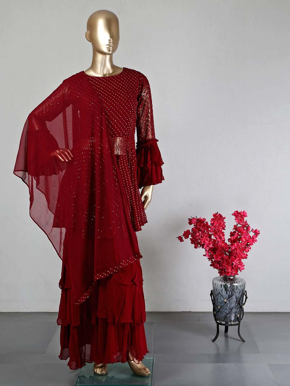 Maroon georgette wedding wear salwar suit?imgeng=w_400