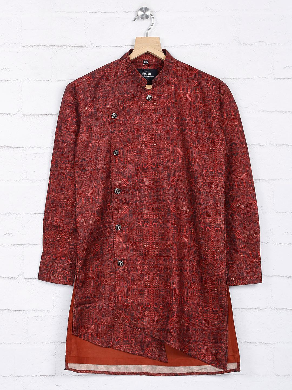 Maroon hue printed cotton fabric kurta suit?imgeng=w_400