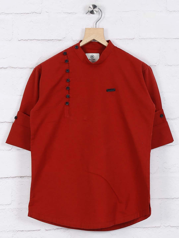 Maroon hued solid cotton short kurta?imgeng=w_400