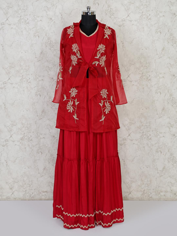 Maroon net cotton silk indo western lehenga suit?imgeng=w_400