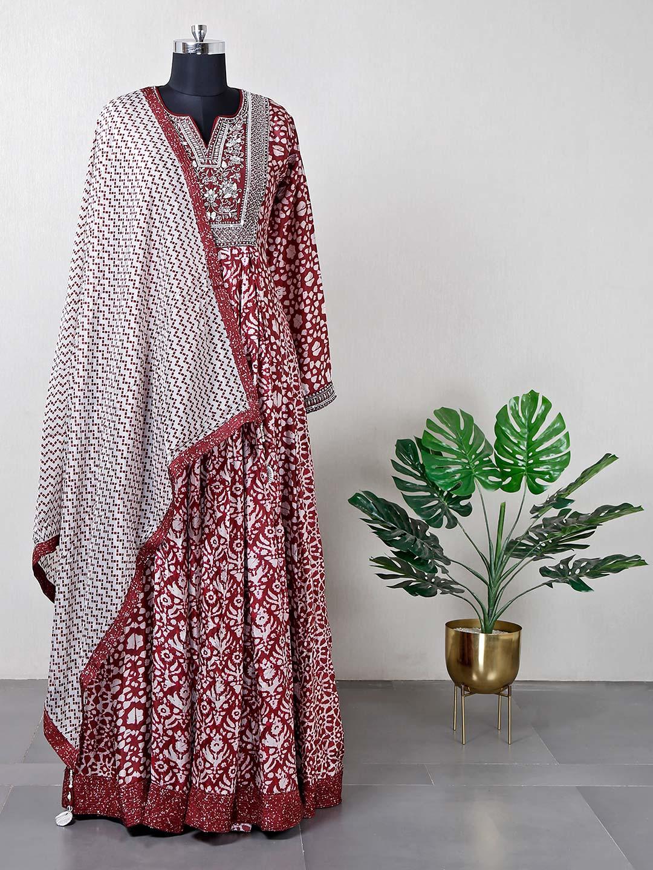 Maroon silk wedding anarkali suit?imgeng=w_400