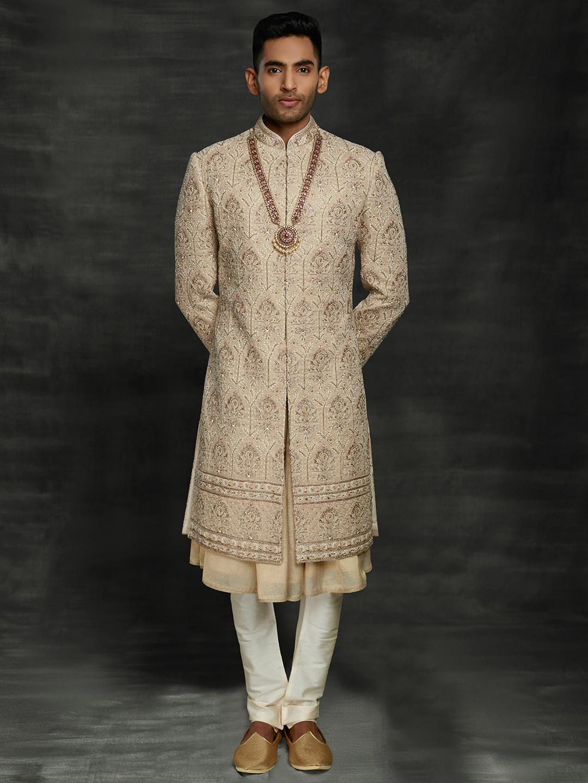 Marvelous gold silk groom double layer sherwani churidar set?imgeng=w_400