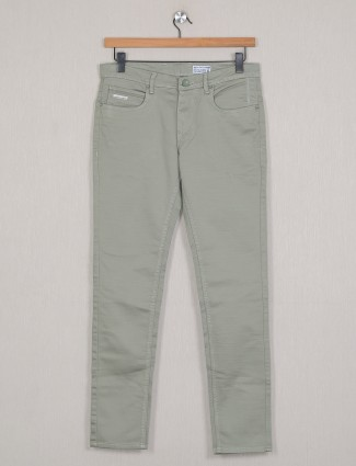 4SIXTY5 solid grey denim jeans for mens