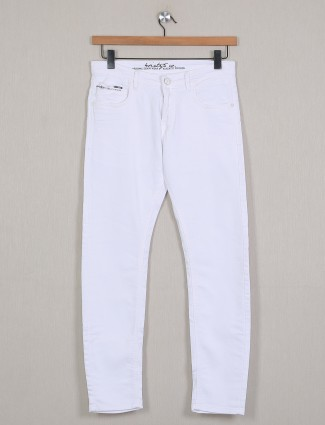 4SIXTY5 solid white casual wear jeans