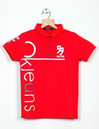 99 Balloon boys printed red polo t-shirt