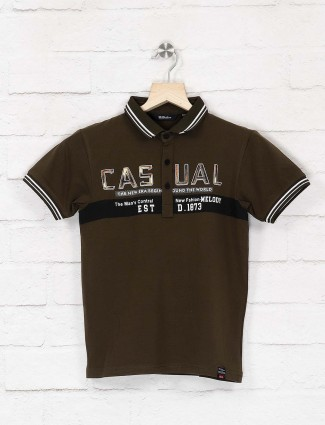 99 Balloon olive color polo neck t-shirt