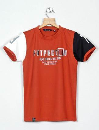 99 Balloon orange printed casual t-shirt