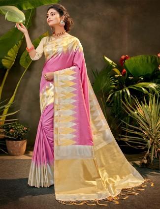 Party wear violet silk saree