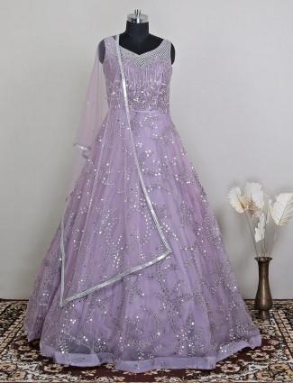 Purple net wedding wear for women