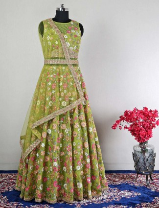A extravagant gown for wedding in mint green hue