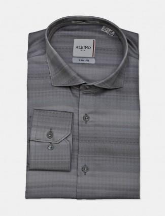 Albino grey cotton stripe formal shirt