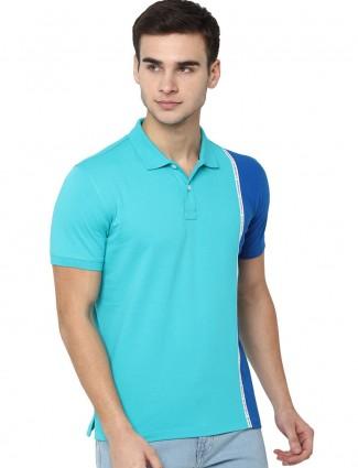 Allen Solly aqua half buttoned placket t-shirt