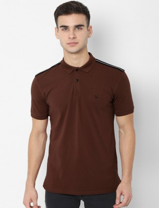 Allen Solly solid brown casual t-shirt