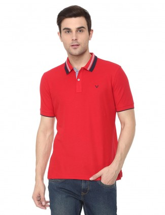 Allen Solly solid red colored t-shirt