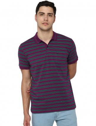 Allen Solly stripe purple cotton t-shirt