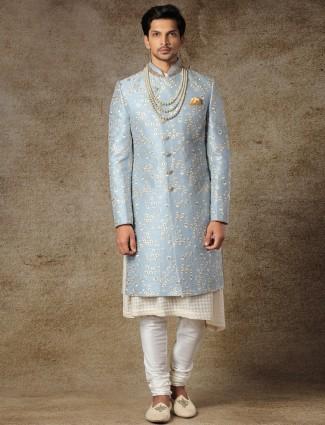 Alluring blue sherwani in raw silk