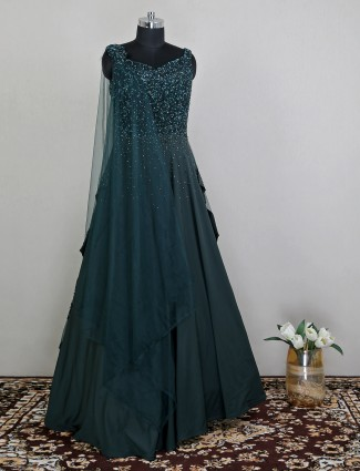 Alluring bottle green wedding gown with sequins details