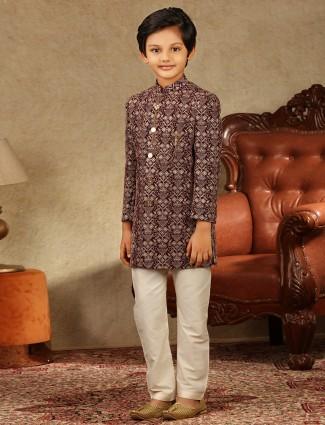 Alluring maroon boys sherwani in georgette