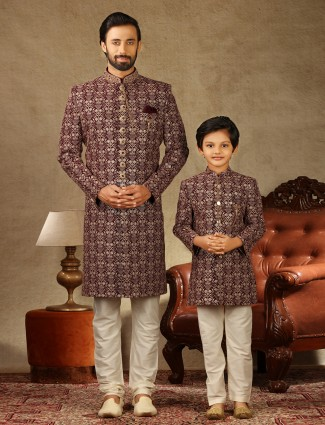 Alluring maroon matching for father and son sherwani in georgette
