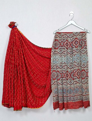 Alluring red festive wear bandhej saree
