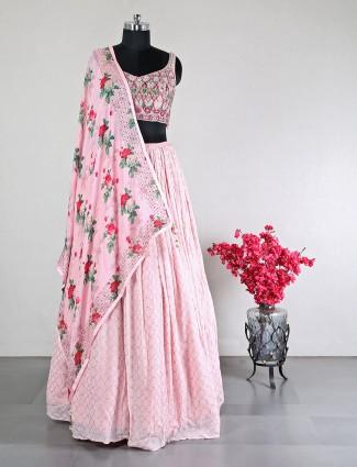 Alluring wedding wear pink lehenga choli