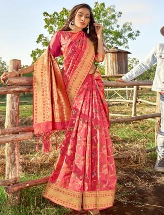 Amazing pink colored banarasi silk wedding wear saree