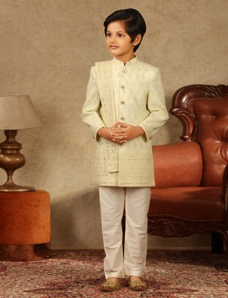 Amazing yellow georgette sherwani for boys