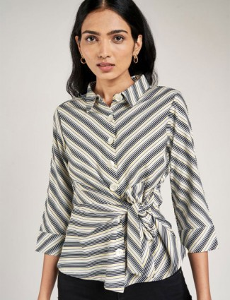 AND Black And White Striped Printed Fit And Flare Top