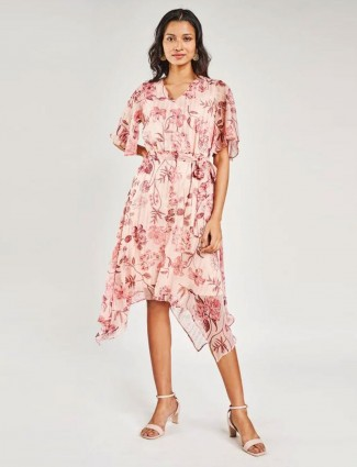 AND Blush Floral Printed Fit And Flare Dress